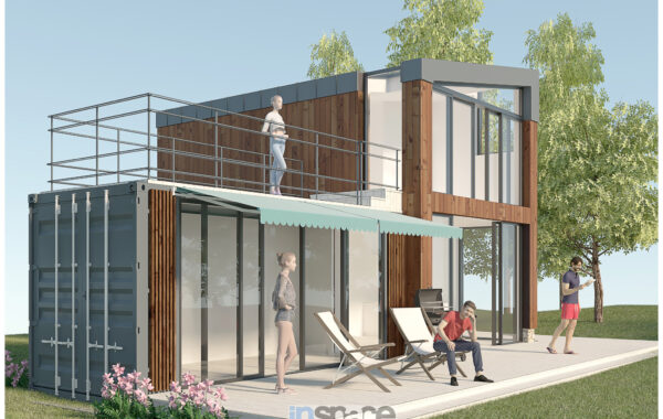 SUMMER HOUSE WITH MARINE CONTAINER INTEGRATED